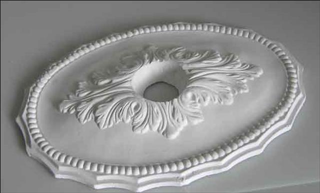 ovale stuck rosette aus gips stuckrosette deckenrosette kronleuchter. Black Bedroom Furniture Sets. Home Design Ideas